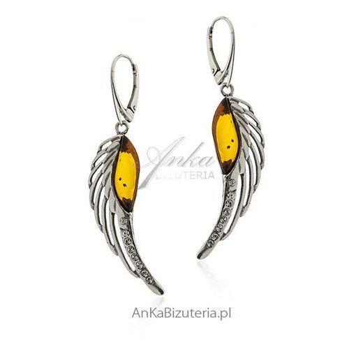 Kolczyki srebrne skrzydła z bursztynem i cyrkoniami, kolor pomarańczowy