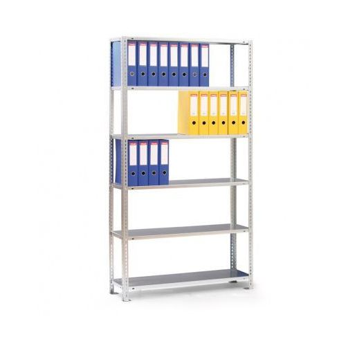 Regał na segregatory COMPACT, ocynk, 7 półek, 2200x1000x300 mm, podstawowy