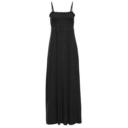Długa sukienka z marszczeniem cienkimi gumkami bonprix czarny, kolor czarny