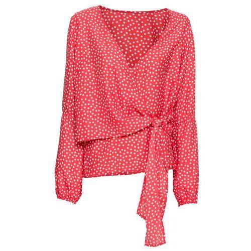 Bluzka z nadrukiem bonprix czerwono-biały w groszki, poliester