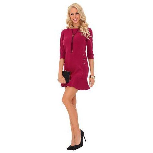 b59ea26b66 Zobacz ofertę Merribel Śliwkowa prosta sukienka dzianinowa z falbanką i  guzikami