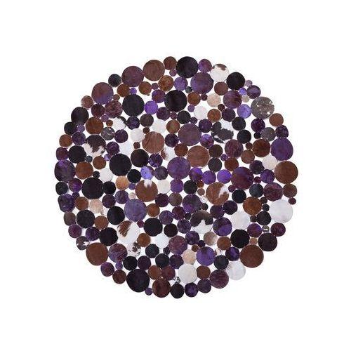 Dywan okrągły skórzany ø 140 cm fioletowy sorgun (Beliani)