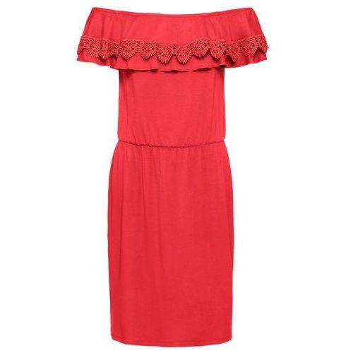 Sukienka shirtowa z wycięciami bonprix czarny z nadrukiem, kolor czerwony