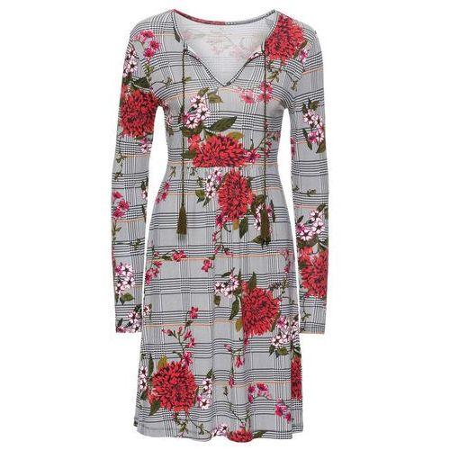 26c6243e3f Sukienka shirtowa w kratę czarno-biały w kratę z nadrukiem (bonprix ...