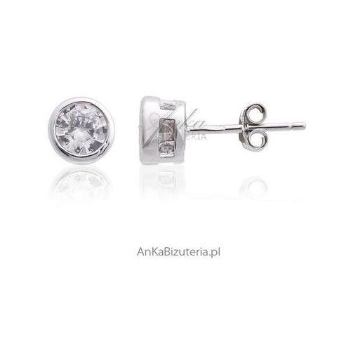Srebrne kolczyki z cyrkonią - subtelne 35mm Anka biżuteria