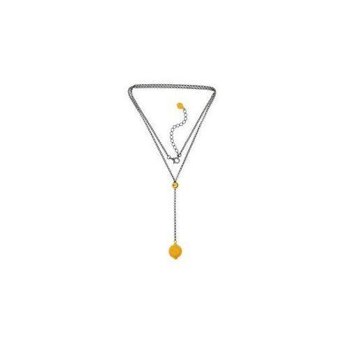 3282b2ae0345a8 ankabizuteria.pl Naszyjnik srebrny oksydowany z żółtym bursztynem, kolor  żółty - 1