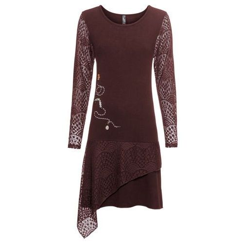 Długa sukienka bonprix czarny z nadrukiem