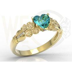Pierścionek z żółtego złota z topazem swarovski ice blue i diamentami ap-52z-r marki Węc - twój jubiler