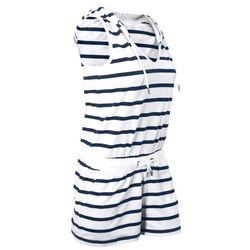 Kombinezon, krótkie nogawki biało-ciemnoniebieski w paski marki Bonprix