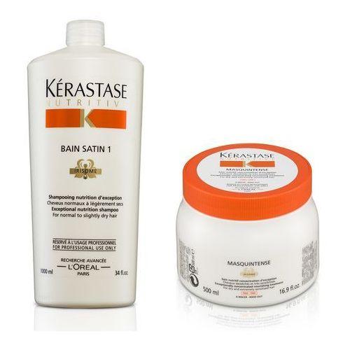 Kerastase zestaw do włosów cienkich i suchych | satin 1 bain 1000ml, masquintense - maska odżywcza do włosów cienkich 500ml