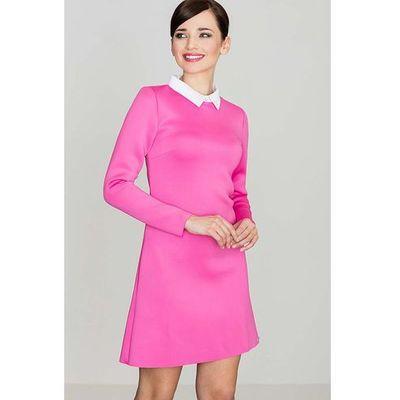 1fd061ec17 Różowa Elegancka Trapezowa Sukienka z Białym Koszulowym Kołnierzykiem