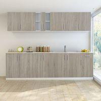 vidaXL Zestaw szafek kuchennych 8 sztuk z częścią na zlew w kolorze dębowym (8718475891086)