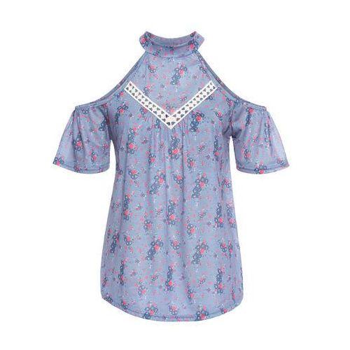 T-shirt z wycięciami dymny niebieski marki Bonprix