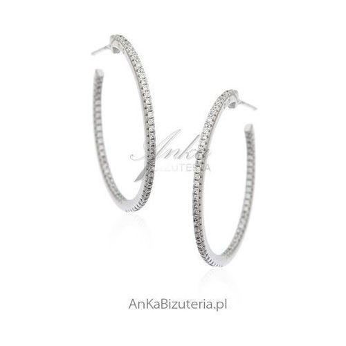 Biżuteria srebrna Kolczyki srebrne koła z cyrkoniami - trzy rozmiary do wyboru