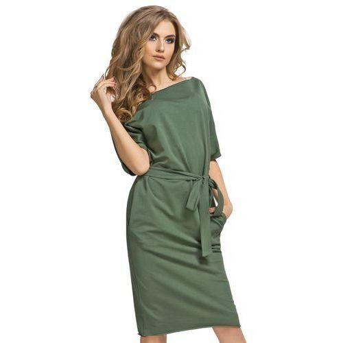 3b909e6e9a ... Tessita Bawełniana sukienka midi z kimonową górą i kieszeniami zielona  t186 - Foto produktu ...