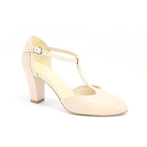 Kotyl 7063 beż+ beż lakier - buty damskie doskonałe do tańca, skóra naturalna - beżowy