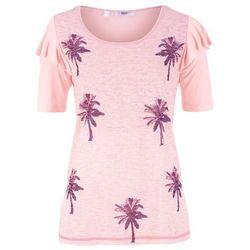 T-shirt z wypalanym wzorem i falbanami pastelowy jasnoróżowy z nadrukiem, Bonprix, 36-58