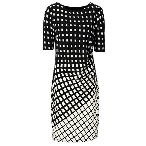 Sukienka shirtowa czarny-ecru Bonprix