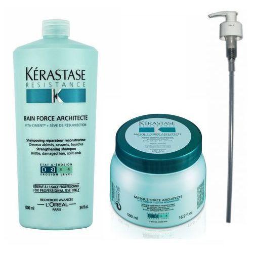 Force architecte zestaw odbudowujący włosy | kąpiel 1000 ml + maska 500 ml + pompka w prezencie! Kerastase