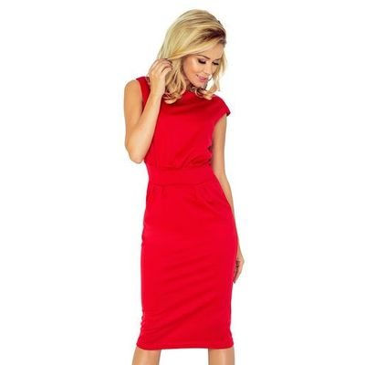 9d03a8b4dd Czerwona Sukienka Elegancka Midi z Zaznaczoną Talią