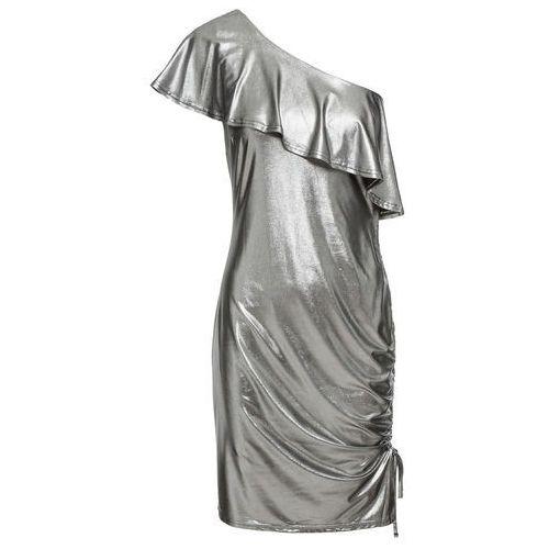 fbcec40b6 Zobacz w sklepie Sukienka z metalicznym połyskiem bonprix srebrny, w 2  rozmiarach