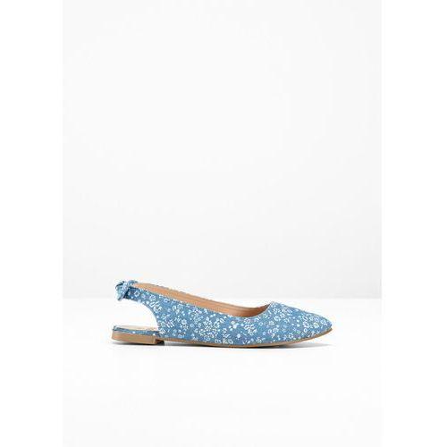 e161c6dc4f6aa Baleriny z paskiem na pięcie niebieski dżins - piaskowy w kwiatową łączkę  marki Bonprix
