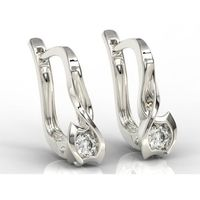 Kolczyki z białego złota z brylantem LPK-2710B - Białe \ Diament