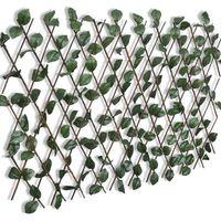Vidaxl rozciągany płot kratkowy, ze sztucznymi liśćmi