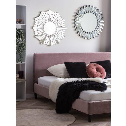 łóżko Różowe Tapicerowane Welur 180 X 200 Cm Fitou Beliani