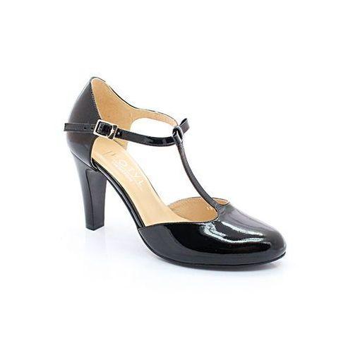 5871 czarny lakier - buty damskie doskonałe do tańca, skóra naturalna - czarny, Kotyl