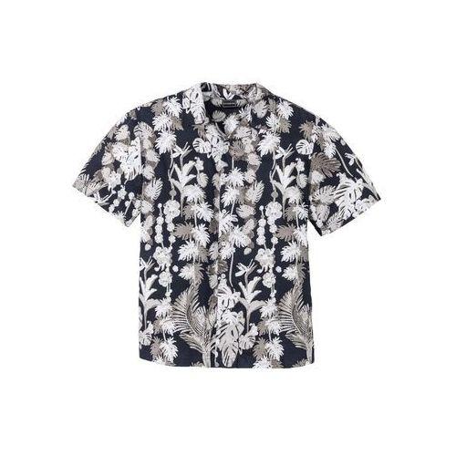 Koszula z krótkim rękawem w hawajski deseń, regular fit ciemnoniebieski z nadrukiem Bonprix