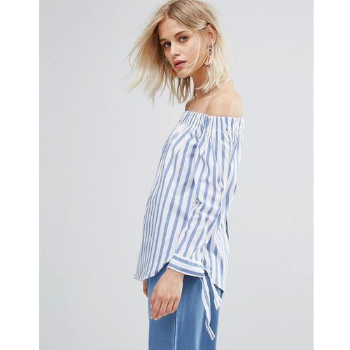 Mango Stripe And Tie Sleeve Off The Shoulder Top - Blue, 1 rozmiar