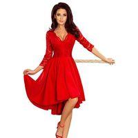 Wieczorowa asymetryczna sukienka z koronką - czerwona