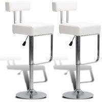 Vidaxl 2 białe, regulowane stołki barowe z oparciem (8718475902294)