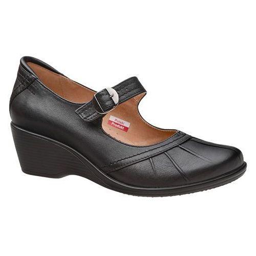 Półbuty na koturnie AXEL Comfort 1147 Czarne buty na haluksy H - Czarny