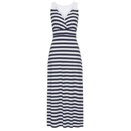 Sukienka bonprix biało-ciemnoniebieski w paski