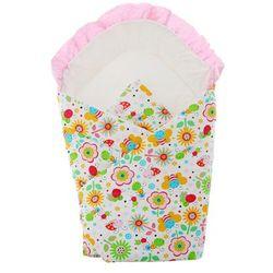 Alma biały rożek becik niemowlęcy łączka w motylki i kwiatuszki