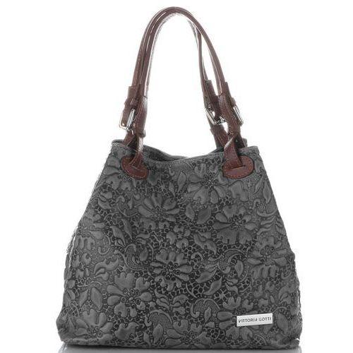 285f554a5b46f Zobacz ofertę Uniwersalne torebki skórzane w tłoczone wzory kwiatów szare  (kolory) Vittoria gotti