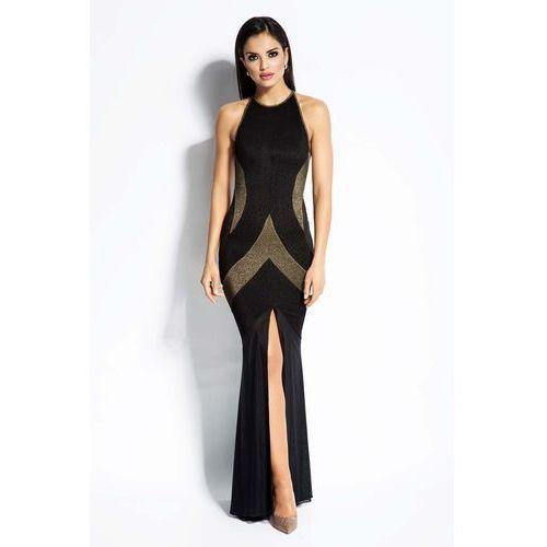 Czarno Złota Sukienka Maxi Tuba z Odkrytymi Plecami, w 5 rozmiarach
