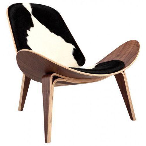 Krzesło inspirowane proj. Shell Chair - pony czarne łaty, 2504-SHPC