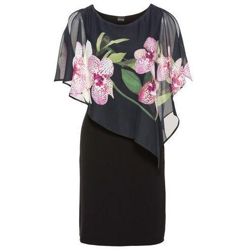 82ecd6cc73 Zobacz ofertę Bonprix Sukienka z szyfonową narzutką czarny - orchidee