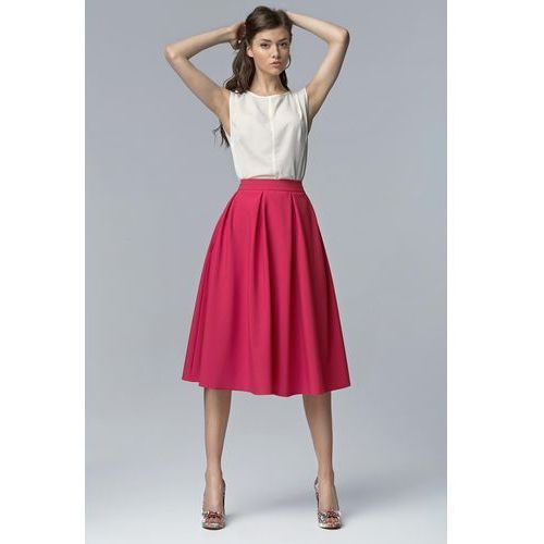 Fuksja modna rozkloszowana spódnica midi Nife