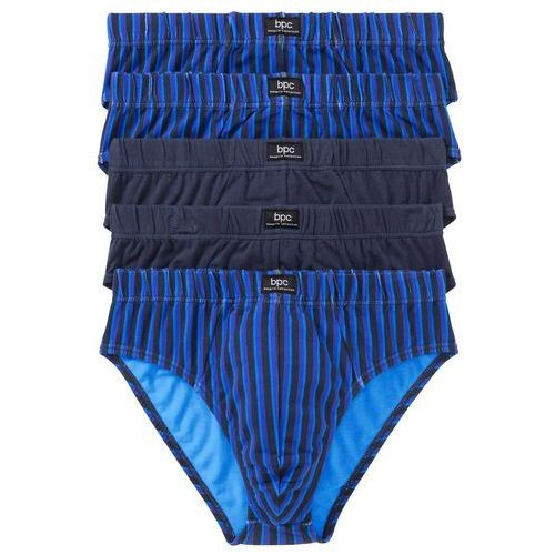 Bonprix Slipy maxi (5 par) niebieski + lila + zielony + szary w paski