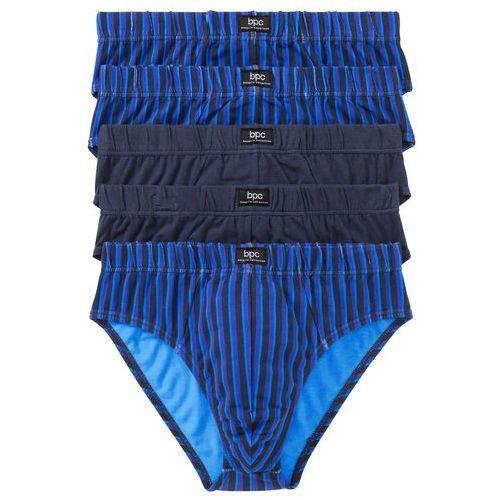Slipy maxi (5 par) niebieski + lila + zielony + szary w paski marki Bonprix