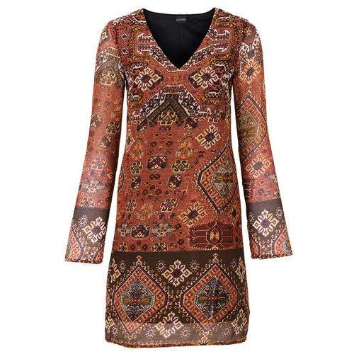 Sukienka pomarańczowo-czarno-ciemnobrązowy wzorzysty, Bonprix, 36-54