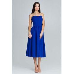 7db1a5a807 Figl. Niebieska Wieczorowa Midi Sukienka Gorsetowa z Falbankami ...