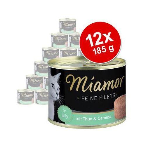 Megapakiet Miamor Feine Filets w puszkach, 12 x 185 g - Tuńczyk z krewetkami