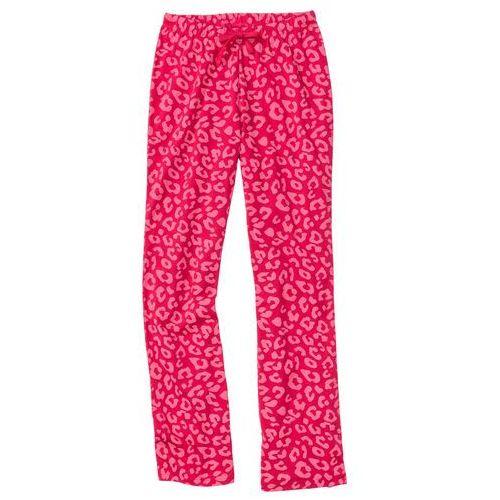 Spodnie do spania czerwień granatu - dymny różowy z nadrukiem marki Bonprix