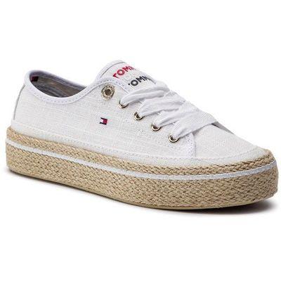 52bc4fccb157b Espadryle TOMMY HILFIGER - Jute Detail Flatform Sneaker FW0FW04262 White  100, w 7 rozmiarach eobuwie.pl
