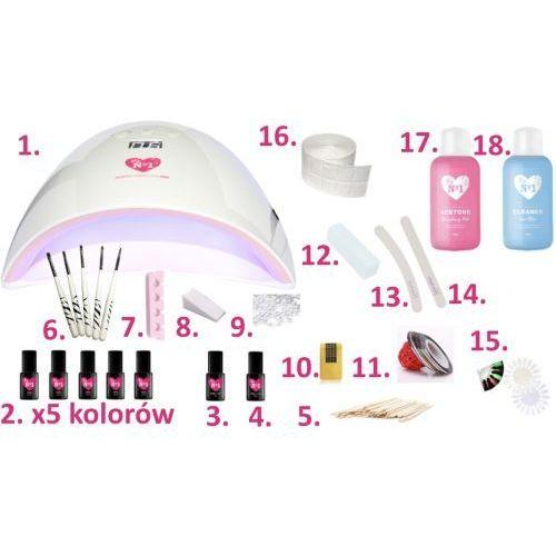 My no1 Zestaw do manicure hybrydowego z lampą pro red 48w 6 lakierów (5902973321807)